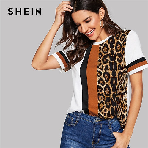 SHEIN Color Block Cut-And-Sew Leopard Panel Top Short Sleeve O-Neck  T Shirt
