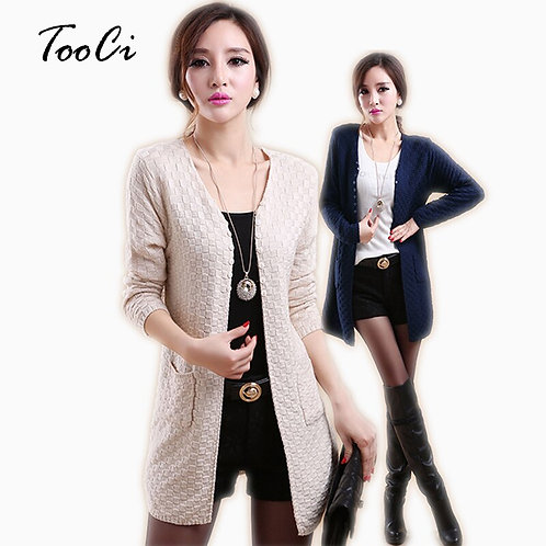 Women Beige  Cardigan Casual Long Sleeve Knitted Cardigans Ladies Sweaters