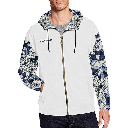 Blue Abstract Men's Sleeves Print Full Zip Hoodie