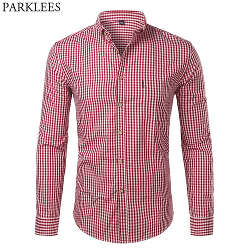 Plaid Cotton Casual Slim Fit Long Sleeve Button