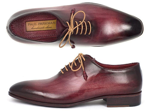 Paul Parkman Men's Burgundy Wholecut Plain Toe Oxfords (ID#DS65BUR)