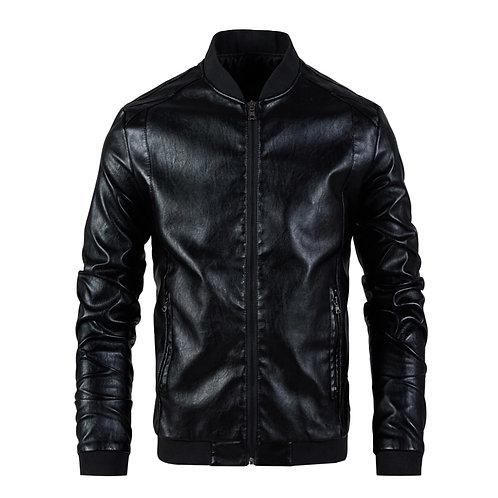 Men Leather Jacket Men's Stand Collar Coat Spring Autumn Casual Slim Big