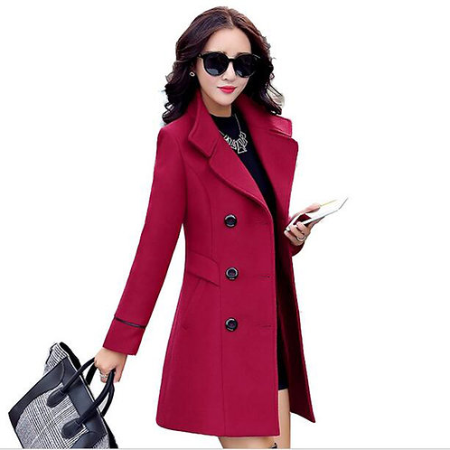 Autumn Winter 2019 New Fashion Women's Wool Coat Double Breasted Coat
