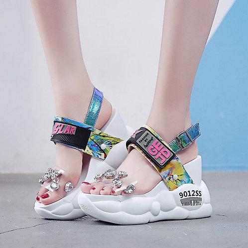 Summer Women Sandals Fashion Transparent Diamond Wedge Sandal Rhinestone