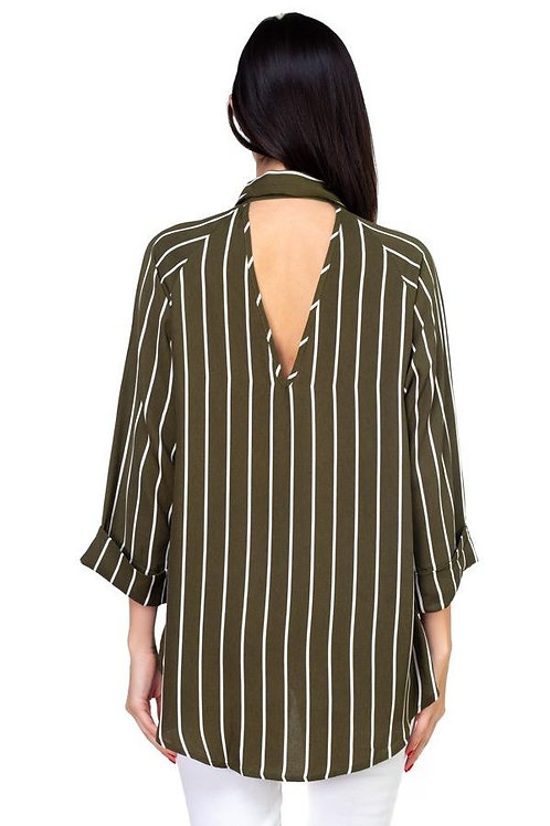 Stripe Button Down Shirt -Olive