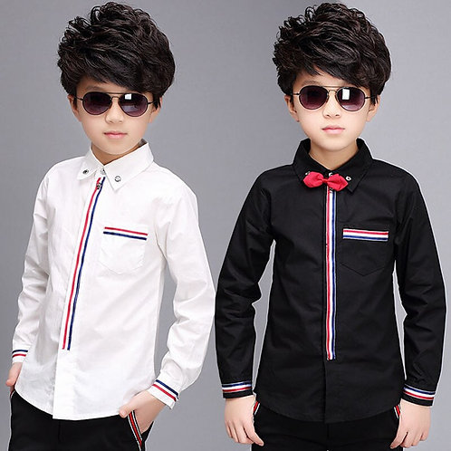 Teenage Boys Shirts Spring Cotton Long Sleeve Solid Shirt Kids White&Black Tops