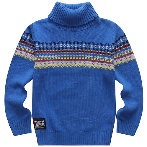 Hot Sales Spring and Autumn 100% Cotton Boys Pullover Sweater Basic Turtleneck
