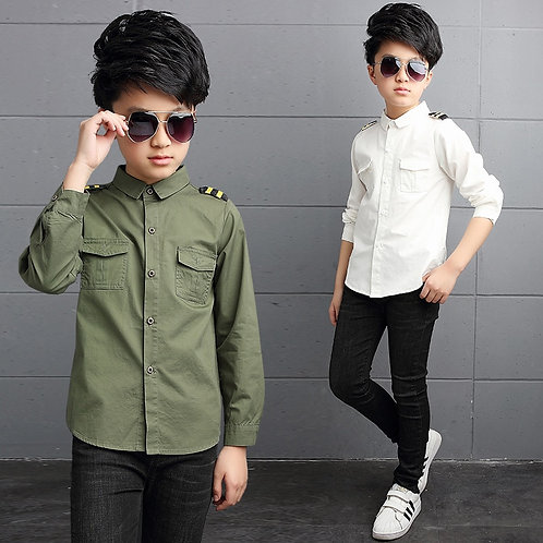 Boy Shirts for Children Spring Autumn 2019 Boys White Shirt Long Sleeve Teenage