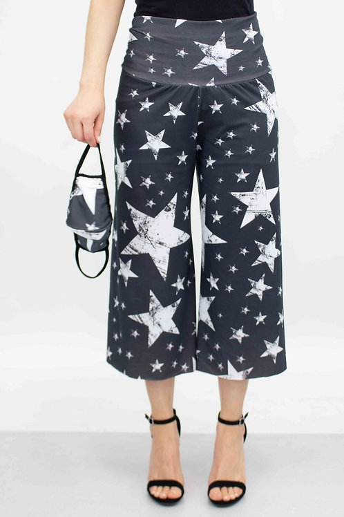Star Print Cropped Gaucho Pants and Mask - Black