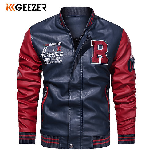 Leather Jacket Men Bomber Jackets Motorcycle Stand Collar Brown Winter Coats
