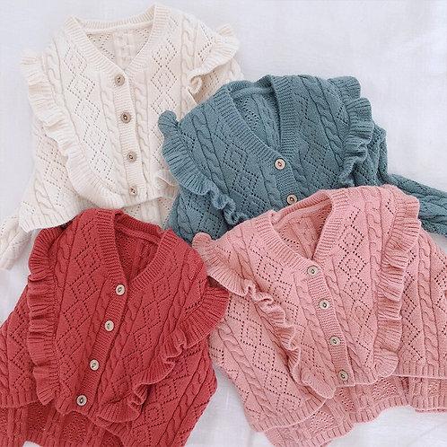 Ruffles v Necek Girls Sweater 2018 Fall Winter Toddler Baby Girls Cardigan