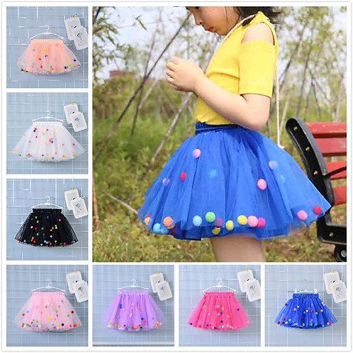 2020 Summer Baby Multilayer Tulle Tutu Skirt Colorful Pom Pom Princess Mini