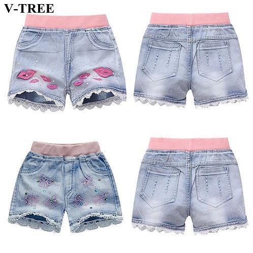Girls Denim Shorts Teenagers Summer Lace Short Pants Kids Beach Clothes