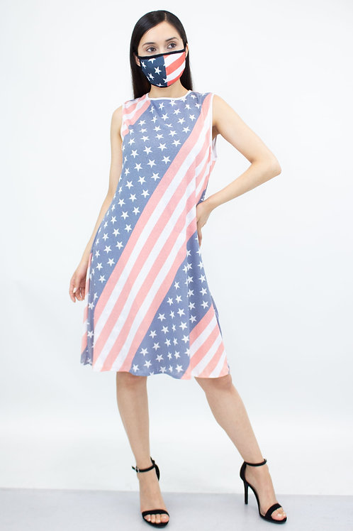 American Flag Print Sleeveless Dress and Matching Face Mask