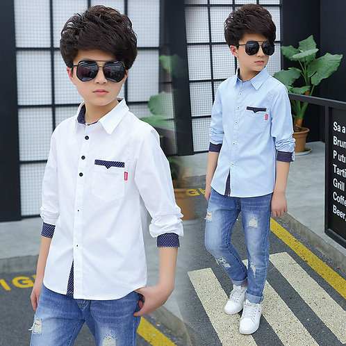 Fashion Boys Cotton Blouses Spring Autumn Kids Boys Long Sleeve Shirt Kids