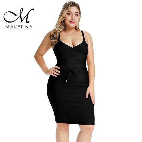 Mini Elegant Black Bandage Dress Sexy Woman Party Club Plus Size Bodycon Dress