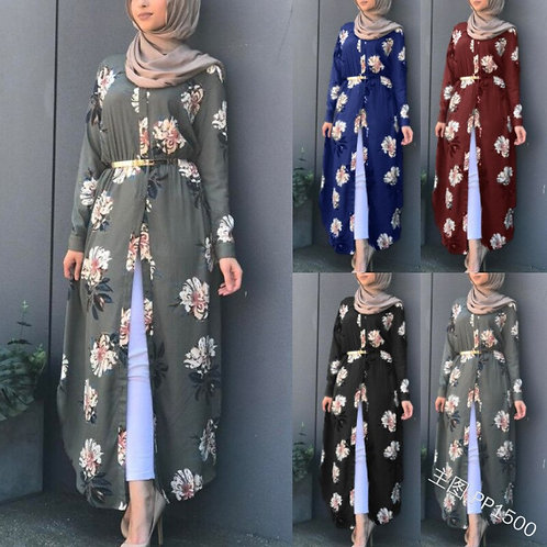 Women's Temperament Printed Women Long Sleeve Waist Casual Muslim Robe