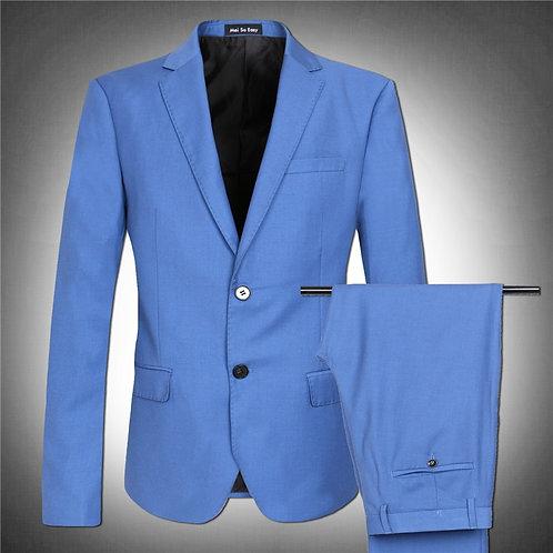 Light Blue Blazer Men's Suit Jacket Set High Quality  Very Large  Big Man