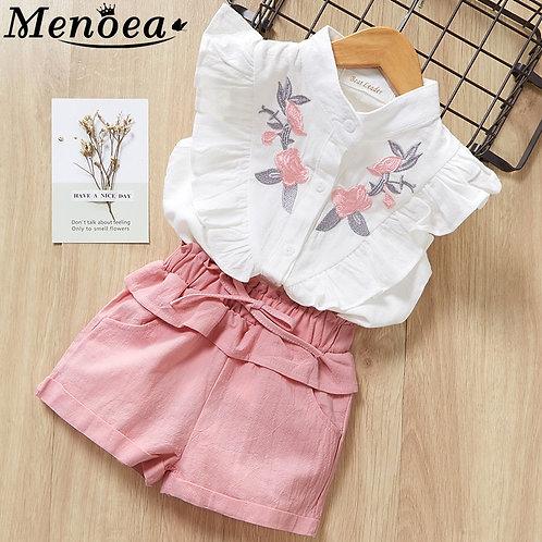 Menoea Girls Suits 2020 Summer Style Kids Beautiful Floral Flower Sleeve