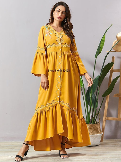 Ramadan Muslim Abayas Yellow Embroidery Dress for Women Dubai Turkey Kaftan