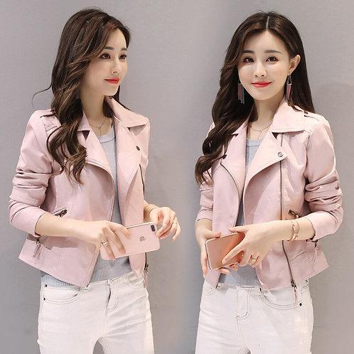 Women Jacket 2020 Spring Autumn Pink Pu Leather Coat Biker Bomber Jacket