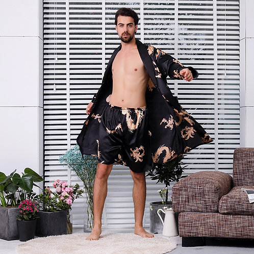 Black Two-Piece Robe Suit Male Silk Dragon Dressing Gown Extra Large 5XL Robe