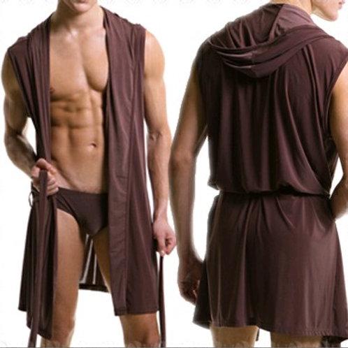 Hot Summer Dress Bath Robe Men Sexy Pajamas Sleepwear Silk Pijama Hombre Hooded