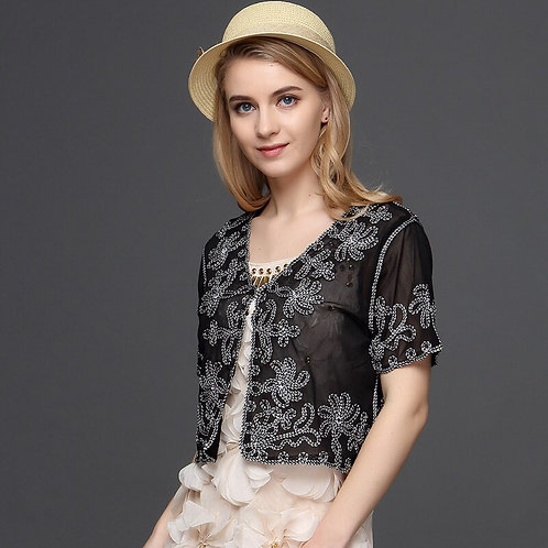 Women Cardigan Bolero Embroidery Floral Rhinestone Lace Mesh Shrugs Jacket