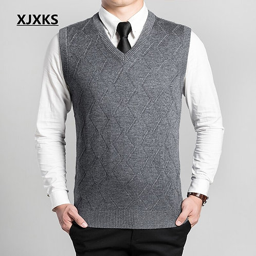 New Autumn and Winter Cashmere V-Neck Men's Vest Sleeveless Sweater