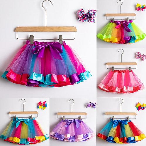 Tutu Skirt Baby Girl Skirts 1 to 8 Years Princess Pettiskirt Party Dance Rainbow