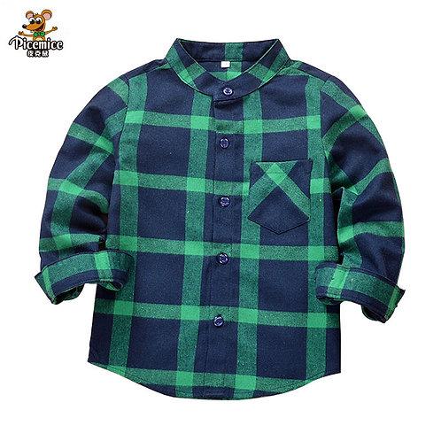 New 2020 Autumn Children Boys Shirts Fashion Plaid Mandarin Collar Long Sleeves