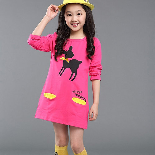 3-10y Child Baby Girls Warm Dress Autumn/Winter Cartoon Long Sleeve Mini Stright