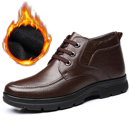 Genuine Leather Shoes  Winter Boots -30 Warm Cotton Shoes Cow Leather