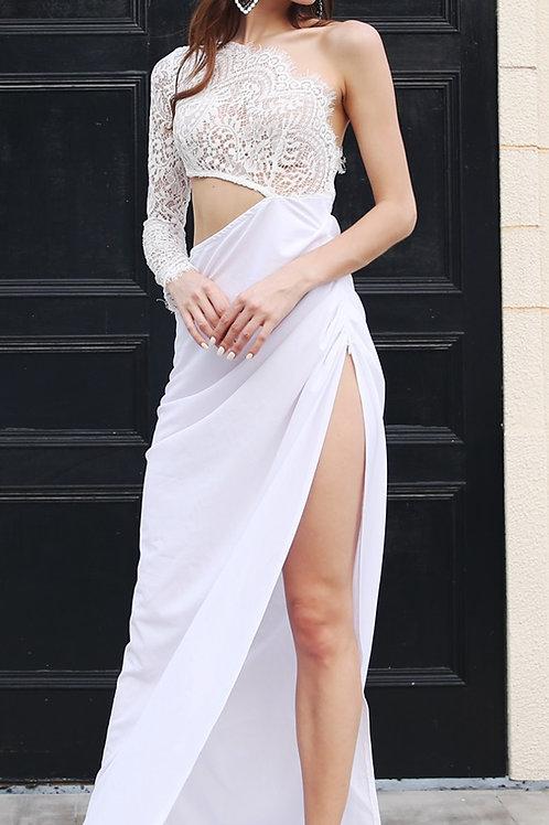 White One Shoulder Evening Dress