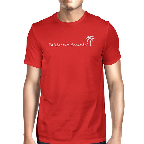 California Dreaming Mens Red Graphic Tee Crew Neck Summer T-Shirt