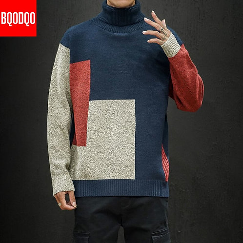 Loose Knit Designer Sweater Winter Men Turtleneck Autumn Patchwork Streetwear