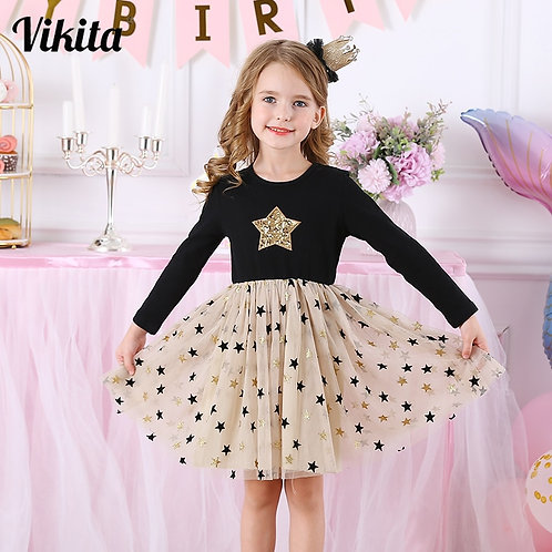 Kids Autumn Winter Dresses for Girls Star Sequins Princess Dress Girls Long