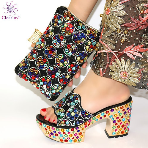 Black Color Matching Women Shoe and Bags Set Decorated With Rhinestone Shoes