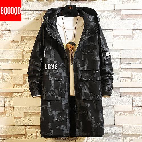 Autumn Oversized Long Trench Coat Men Black Hip Hop Military Loose Jacket