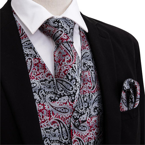 Men Formal Waistcoat Summer V-Neck Vests Slik Paisley Necktie Gray Tie