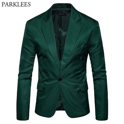 Mens One Button Notched Lapel Green Blazer Men Fit Casual Suit Jacket Blazers