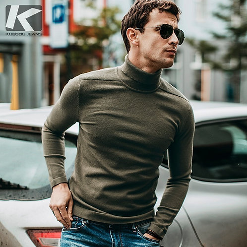 Autumn Men Sweater Black Green Color Pullovers for Man Fashion Slim Fit Clothes