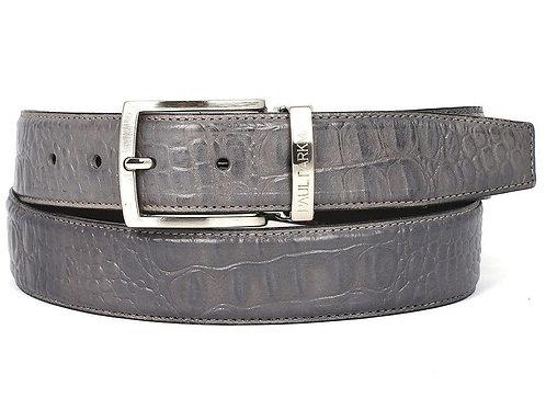 PAUL PARKMAN Men's Crocodile Embossed Calfskin Leather Belt Hand-Painted Gray