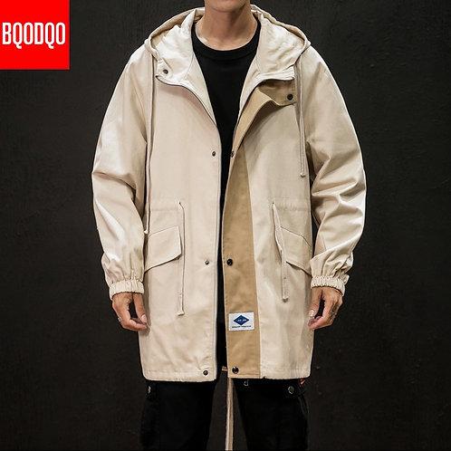 BQODQO Black Cotton Trench Long Coat Men Steampunk Mens Windbreaker Autumn