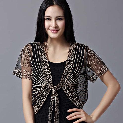 Summer Thin Short Sleeve Handmade Crochet Lace Mesh Shrug Bolero