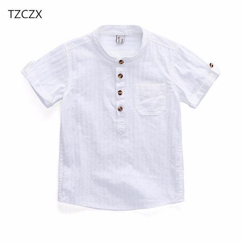 TZCZX-2320 New 2018 Summer Style Children Boys Shirt Fashion Solid Cotton Short