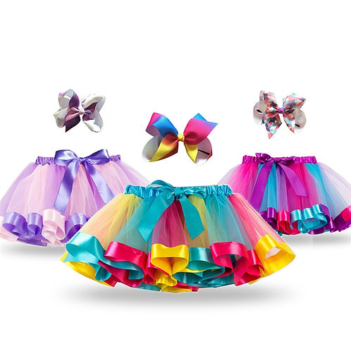 Princess Tutu Skirt Baby Girls Clothes Fancy Unicorn Rainbow Kids Party Tutu