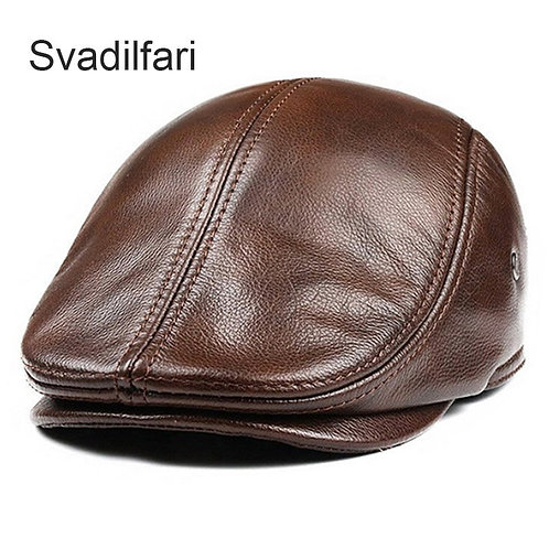 Men Warm Genuine Leather Caps
