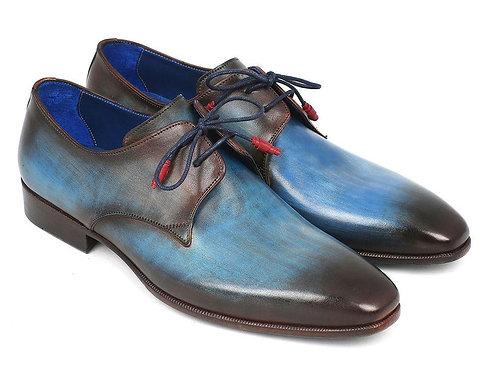 Paul Parkman Blue & Brown Hand-Painted Derby Shoes