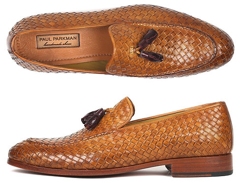 Paul Parkman Woven Leather Tassel Loafers Camel Colour